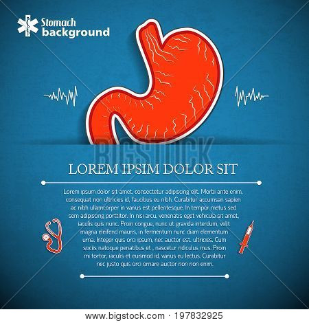 Internal human organs concept with stomach sticker and medical symbols on blue background vector illustration