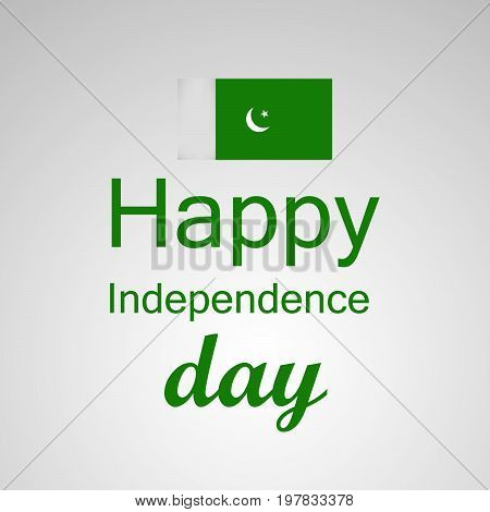 illustration of Happy Independence day text with Pakistan flag on the occasion of Pakistan Independence day