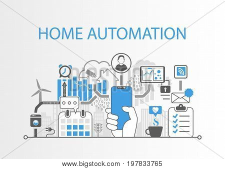 Home automation concept as vector illustration with modern bezel free smart phone