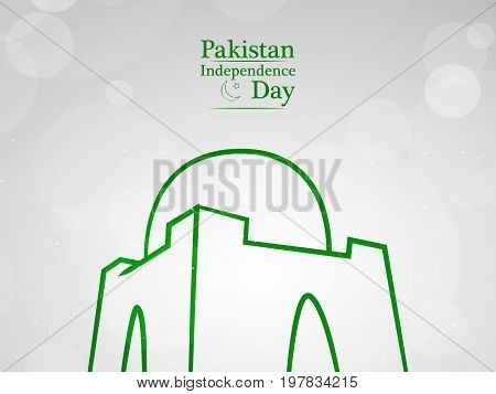 illustration of Minar - e - Pakistan with Pakistan Independence day text on the occasion of Pakistan Independence day