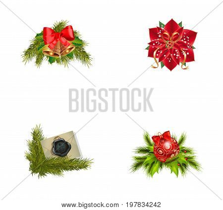 New Year icon set. Bells on Christmas tree Poinsettia flower Sealed envelope Bauble on Christmas tree