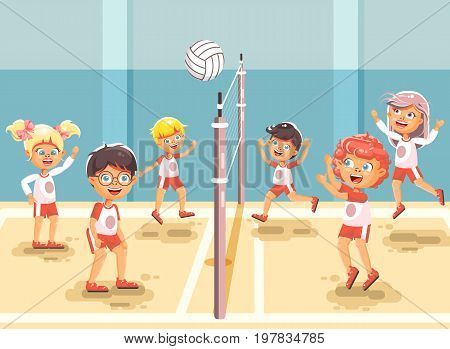 Stock vector illustration back to sport school children character schoolgirl schoolboy pupil classmates team game playing volleyball ball physical education class gymnasium gym background flat style.