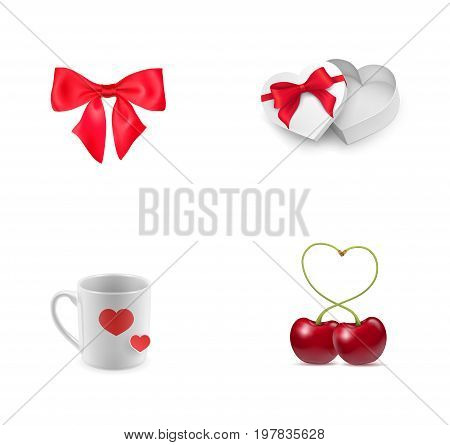 Valentines Day elements icon set. Red bow box Heart-shaped gift box Cup with hearts Heart-shaped cherries