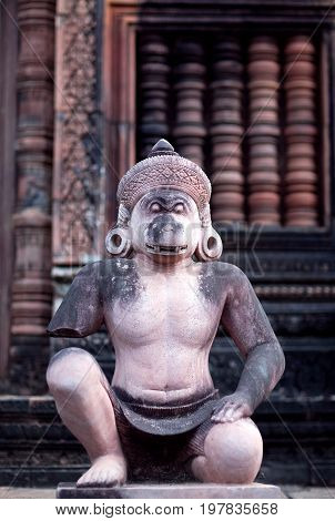 Ancient statue of Hanuman in Banteay Srey Temple in Angkor Area, Cambodia. Banteay Srey is a 10th century Cambodian temple dedicated to the God Shiva