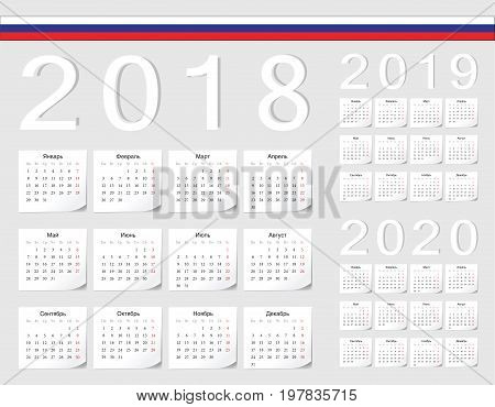Set Of Russian 2018, 2019, 2020 Vector Calendars
