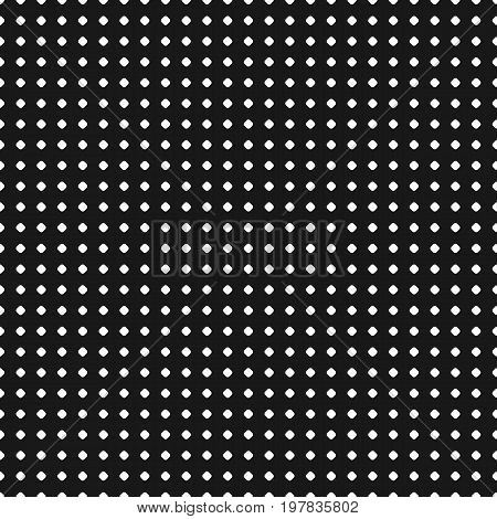 Polka dot pattern. Vector seamless texture. Abstract black & white geometric backdrop with tiny circles and spots, regular grid. Simple monochrome repeat background. Dot pattern. Dark decorative design element. Seamless pattern with dots.