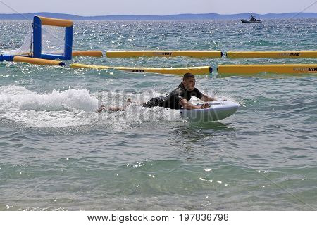 Split Croatia - 30 April 2016: Presentation of the new electric jet surfing board kymera bodyboard in the water park