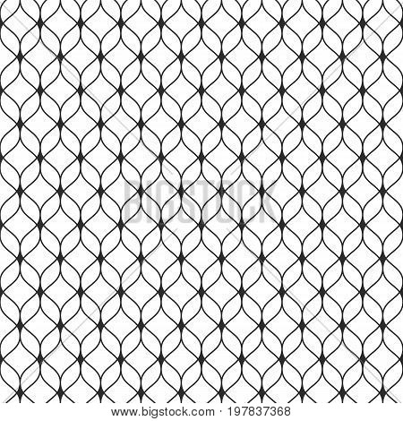 Mesh pattern. Seamless pattern in Arabian style. Abstract graphic monochrome background with thin wavy lines, delicate lattice. Black & white texture of mesh, lace, weaving. Luxury design, repeat tiles. Arabesque pattern, turkish pattern.