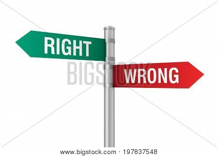 Right Wrong Road Sign 3D Illustration