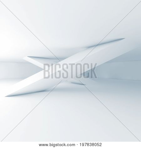 Abstract White Room Interior, Inclined Columns
