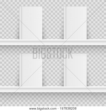 Blank book on book shelf. Hardcover Book Mock-Up isolated on transparent background. Vector illustration. Eps 10