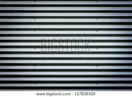 Closeup stainless steel corrugated sheet. Ridged reinforced metal surface for protection. Metallic background texture with nice studio lighting and elegant vignetting to draw the attention.