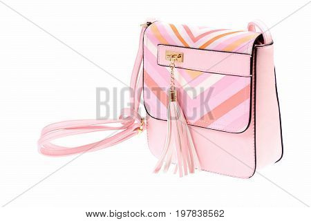 Fashion Concept: Leather Purse In Pink Colour, Close Up