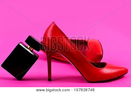 High Heel Shoes With Perfume As Fashion And Scent Concept