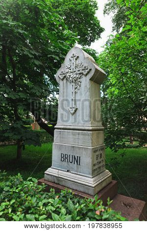 Fyodor Bruni grave at the Tikhvin cemetery. Grave of the Russian painter Fidelio Antonovich Bruni in St. Petersburg. Necropolis of Alexander Nevsky Lavra. August 22 2017