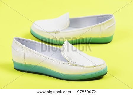Moccasins For Women In White Color. Summer Fashion, Casual Lifestyle