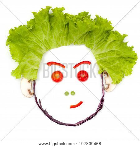 Doubting, Skeptical Human Head Made Of Vegetables