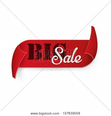 Big sale red curved ribbon isolated on white background. Vector illustration. Eps 10.