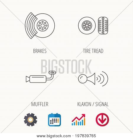 Tire tread, brakes and steering wheel icons. Muffler, klaxon signal linear signs. Calendar, Graph chart and Cogwheel signs. Download colored web icon. Vector