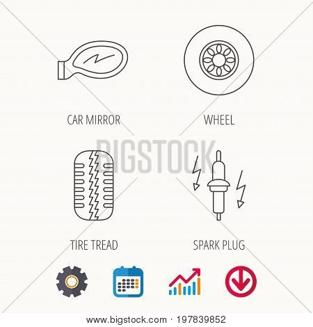 Wheel, car mirror and spark plug icons. Tire tread linear sign. Calendar, Graph chart and Cogwheel signs. Download colored web icon. Vector