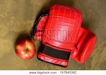 Boxing Gloves In Red Color. Pair Of Leather Boxing Sportswear