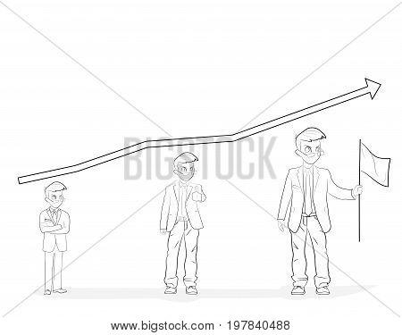 Line flat design vector illustration concept for personal development, professional growth, human resources management, career achievements