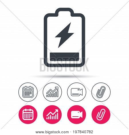 Battery power icon. Charging accumulator symbol. Statistics chart, calendar and video camera signs. Attachment clip web icons. Vector