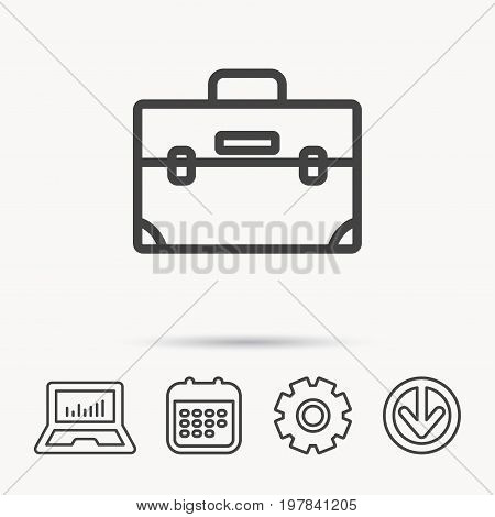 Briefcase icon. Businessman case or diplomat sign. Hand baggage symbol. Notebook, Calendar and Cogwheel signs. Download arrow web icon. Vector