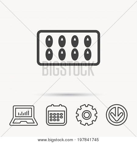 Medical capsules icon. Medicine drugs sign. Notebook, Calendar and Cogwheel signs. Download arrow web icon. Vector