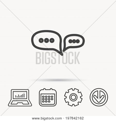 Chat icon. Comment message sign. Dialog speech bubble symbol. Notebook, Calendar and Cogwheel signs. Download arrow web icon. Vector