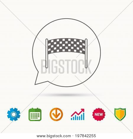 Finishing checkpoint icon. Marathon banner sign. Calendar, Graph chart and Cogwheel signs. Download and Shield web icons. Vector