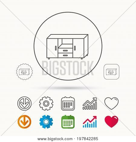 Chest of drawers icon. Interior commode sign. Calendar, Graph chart and Cogwheel signs. Download and Heart love linear web icons. Vector
