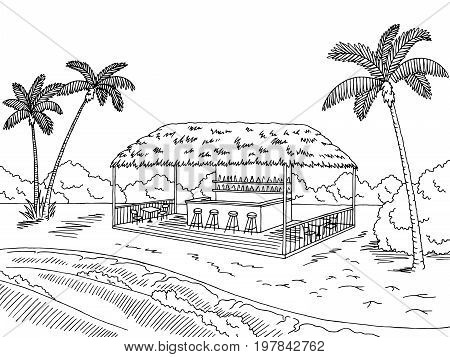Beach cafe bar graphic black white landscape sketch illustration vector