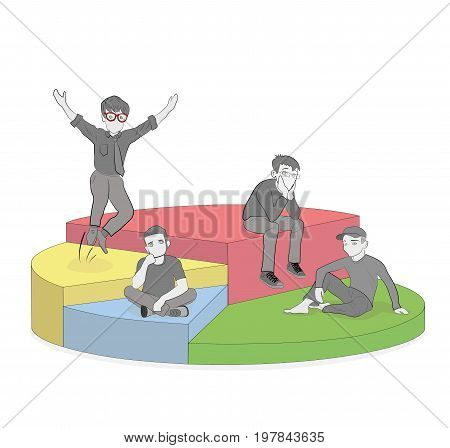 Different people in the diagram segments. vector illustration.