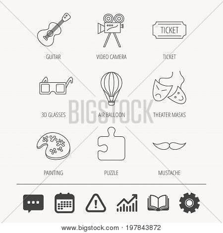 Puzzle, guitar music and theater masks icons. Ticket, video camera and 3d glasses linear signs. Entertainment, painting and mustache icons. Education book, Graph chart and Chat signs. Vector