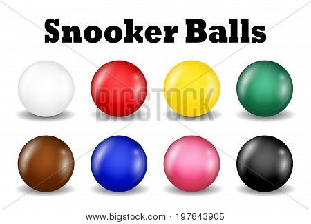 snooker balls set on a white background