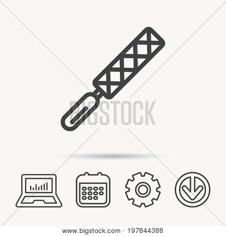 File tool icon. Carpenter equipment sign. Notebook, Calendar and Cogwheel signs. Download arrow web icon. Vector