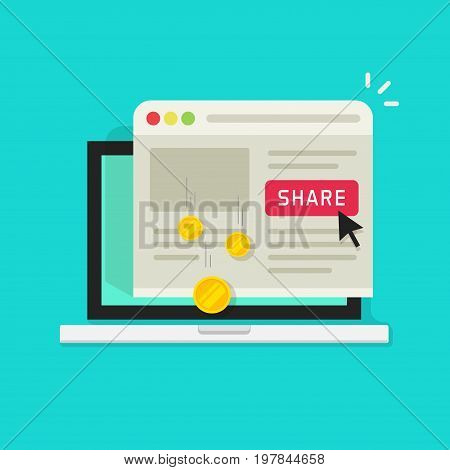 Affiliate marketing concept vector illustration, flat cartoon laptop computer with share button and money earning from sharing on social media, idea of affiliate program
