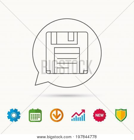 Floppy disk icon. Retro data storage sign. Calendar, Graph chart and Cogwheel signs. Download and Shield web icons. Vector