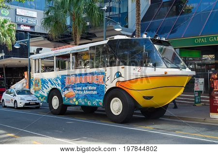 Gold Coast, Australia - July 12, 2017: Aquaduck amphibious tourist vehicle in Surfers Paradise on the Gold Cost.