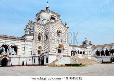 Monumental Cemetery in Milano, Italy, also known as Cimitero Monumentale di Milano - one of the largest cemeteries and main landmarks in the city. Famedio chapel is main entrance to graveyard.