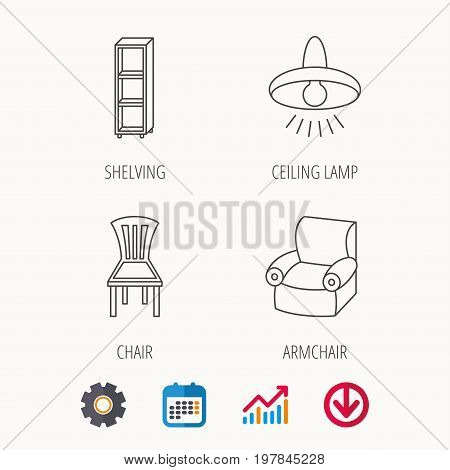 Chair, ceiling lamp and armchair icons. Shelving linear sign. Calendar, Graph chart and Cogwheel signs. Download colored web icon. Vector