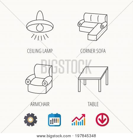 Corner sofa, table and armchair icons. Ceiling lamp linear signs. Calendar, Graph chart and Cogwheel signs. Download colored web icon. Vector