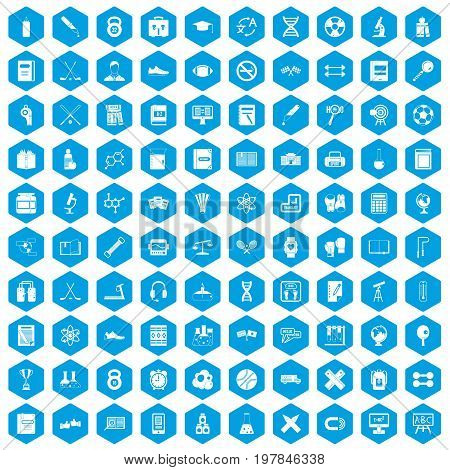 100 college icons set in blue hexagon isolated vector illustration
