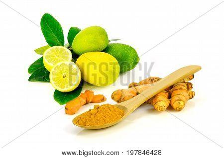 Lemon And Turmeric (curcuma Longa L.) Root.