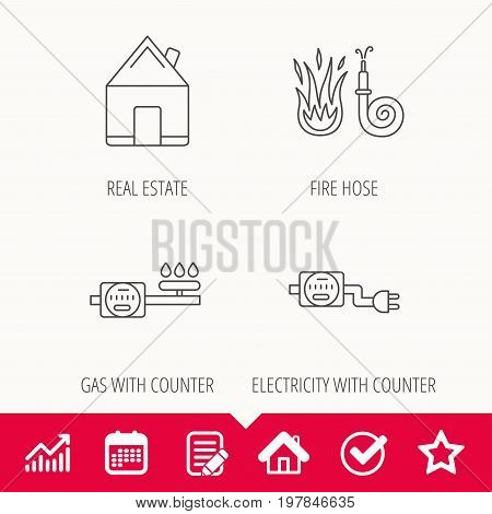 Real estate, fire hose and gas counter icons. Electricity counter linear sign. Edit document, Calendar and Graph chart signs. Star, Check and House web icons. Vector