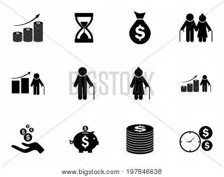 Set of pension funds icons. Retirement savings. Vector pictograms