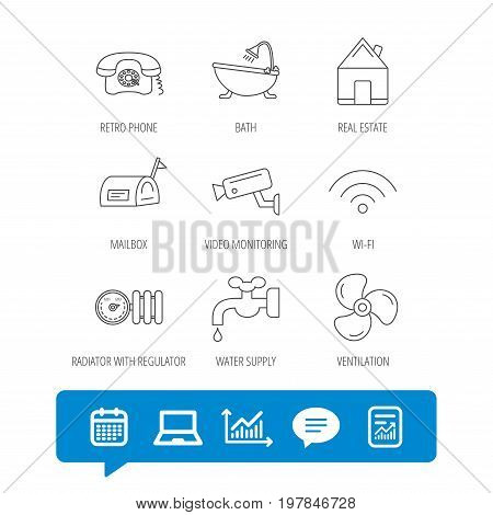 Wifi, video camera and mailbox icons. Real estate, bath and water supply linear signs. Radiator with heat regulator, phone icons. Report file, Graph chart and Chat speech bubble signs. Vector