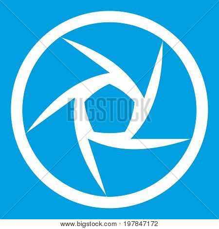 Video objective icon white isolated on blue background vector illustration