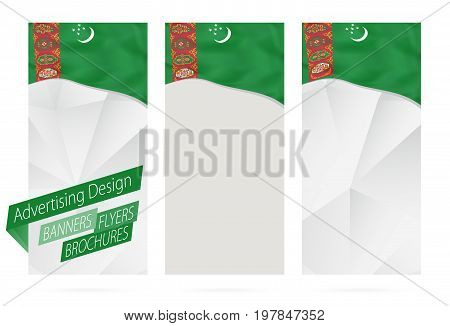 Design Of Banners, Flyers, Brochures With Flag Of Turkmenistan.